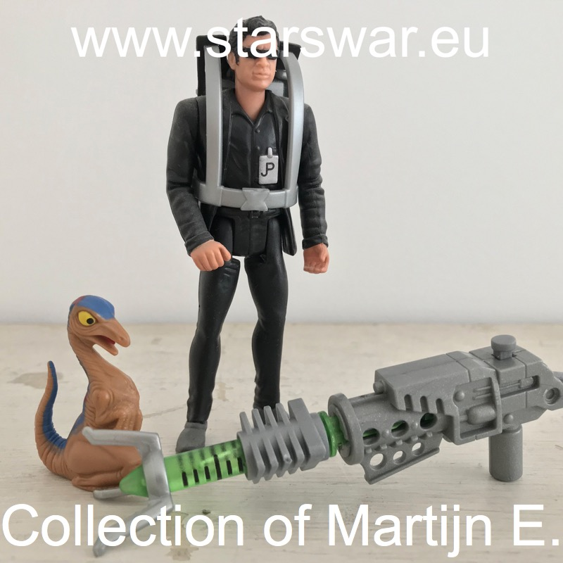 Ian Malcolm (with Launching Tranq Missile Dart) and Dino Hatchling.